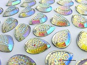 Galantéria - Ozdobné kamienky 13x18 mm - Crystal AB - 8161007_
