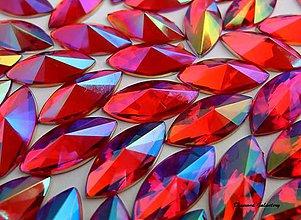 Galantéria - Ozdobné kamienky 7x15 mm - AB červené - 8161081_