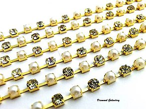 Komponenty - Štrasová borta perličková - 4 mm - cena za 10 cm - 8161317_