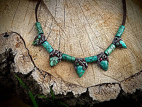 Náhrdelníky - náhrdelník africký Tyrkys - 8160069_