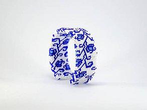 Náramky - Háčkovaný korálkový náramok Modrá ruža - 8159956_