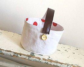Košíky - Košík z ručne tkaného ľanu s koženou skladateľnou rúčkou - 8161319_