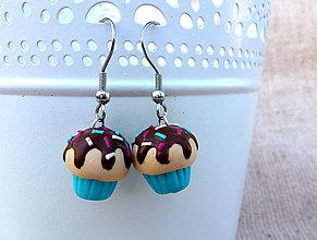 Náušnice - Muffinky s čokoloádovou polevou - modré - 8165148_