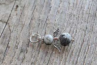 Kľúčenky - prívesok anjelik - Amazonit šedý - 8163415_