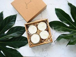 Svietidlá a sviečky - Čajové sviečky zo sójového vosku - bez odpadu - 4ks so skleneným svietnikom - 8163402_
