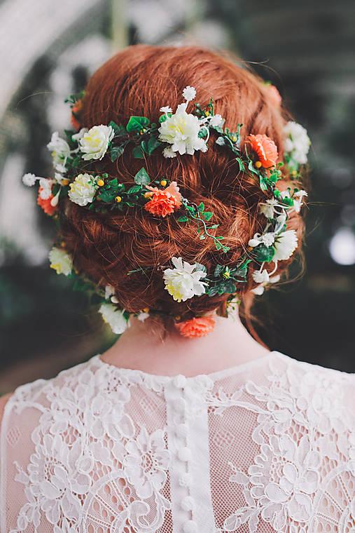 """Kvetinový pletenec do vlasov """"slnko nad jazerom"""""""
