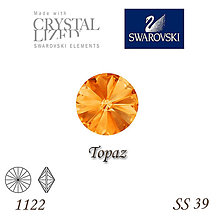 Korálky - SWAROVSKI® ELEMENTS 1122 Rivoli - Topaz, SS 39(8mm), bal.1ks - 8163668_