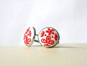 Šperky - Folk manžetové gombíky - bielo-červené - 8167734_