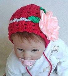 Detské čiapky - Čepček s ružou - 8167306_