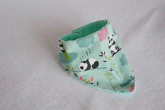Detské doplnky - Šatka minty malá panda / minky - 8165708_