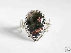 Prstene - Strieborný prsteň s oceánskym jaspisom - Línia kvapiek - 8167474_