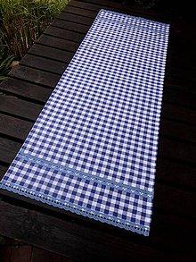 Úžitkový textil - BĚHOUN 37 x 100 cm .. venkovský modrý s krajkou - 8167285_
