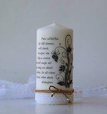 Svietidlá a sviečky - Sviečka s venovaním pre pani učiteľku I. - 8167029_