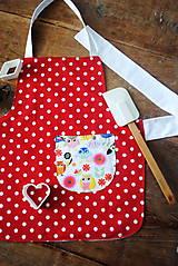 Textil - Bodkovaná zásterka s vtáčikmi - 8165482_