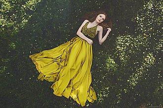 Šaty - Žltá modrotlač - 8167912_