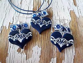 Sady šperkov - SRDCE pre folkloristku- sada modrá - 8167703_