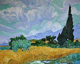 Obrazy - Pšeničné pole s cypruštekmi-podľa Van Gogha - 8168650_