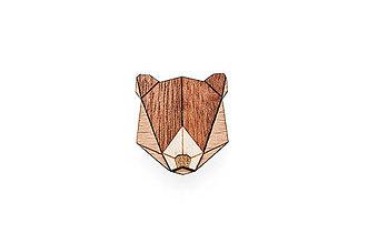 Odznaky/Brošne - Drevená brošňa Bear Brooch - 8169197_