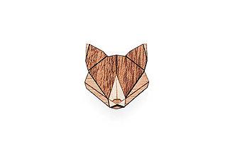 Odznaky/Brošne - Drevená brošňa Fox Brooch - 8169230_