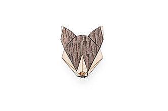 Odznaky/Brošne - Drevená brošňa Wolf Brooch - 8169260_
