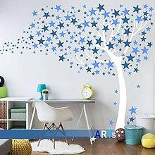 Dekorácie - (3808n) Nálepka na stenu - Strom s hviezdami - 8169666_