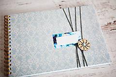 Papiernictvo - Scrapbook album / kniha hostí Modrá - 8169452_