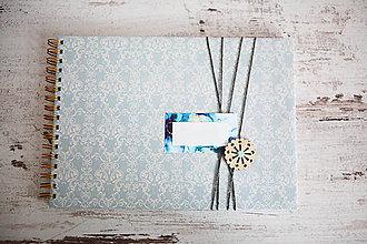 Papiernictvo - Scrapbook album / kniha hostí Modrá - 8169451_