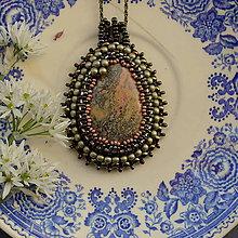 Náhrdelníky - Jaspisový n.2 - šitý náhrdelník - 8170594_