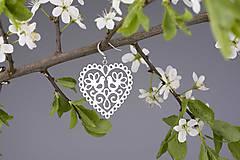 Náušnice - Náušnice srdce holubice 3cm - 8168571_