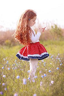 Detské oblečenie - Sukňa detská červená s krajkou Folklór - 8171091_