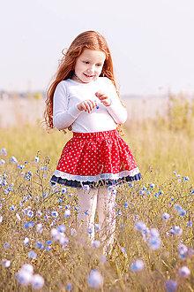 Detské oblečenie - Sukňa detská červená s krajkou Folklór - 8171153_