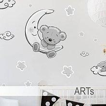 Dekorácie - (3562f) Nálepky na stenu- Sivý macko - 8172003_