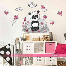 Dekorácie - (3548f) Nálepky na stenu - Panda s kvietkami - 8172074_