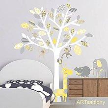 Dekorácie - (3523nf) Nálepky na stenu- Strom so zvieratkami - 8172343_