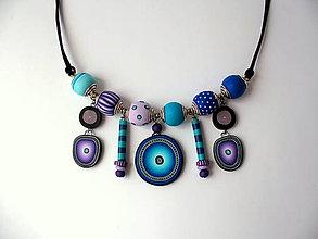 Náhrdelníky - náhrdelník,,Lila- modrá,, - 8172227_