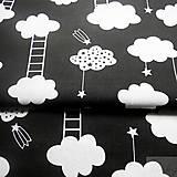 Textil - čierne mraky s rebríkmi; 100 % bavlna, šírka 160 cm, cena za 0,5 m - 8172047_