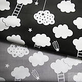 Textil - šedé mraky s rebríkmi; 100 % bavlna, šírka 160 cm, cena za 0,5 m - 8172059_