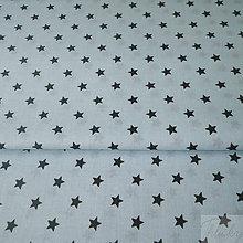 Textil - tyrkysové hviezdičky, 100 % bavlna, šírka 160 cm, cena za 0,5 m - 8174111_