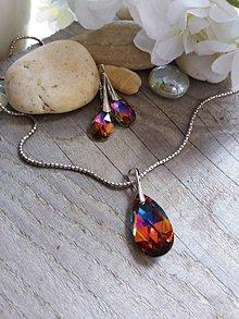 Sady šperkov - Swarovski pear shaped crystal volcano - 8174137_