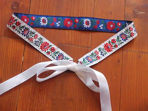 86905b9e6 Folklórny opasok obojstranný šírka 3,5cm - modro-biela / erikak ...