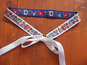 Opasky - Folklórny opasok obojstranný šírka 3,5cm - modro-biela - 8171702_