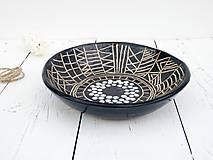 Nádoby - Keramická misa čierna geometrická - 8176468_