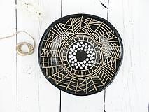 Nádoby - Keramická misa čierna geometrická - 8176469_