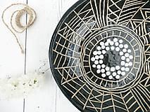 Nádoby - Keramická misa čierna geometrická - 8176470_