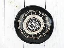 Nádoby - Keramická misa čierna kvet - 8176473_