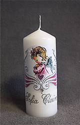 Svietidlá a sviečky - krstová sviečka s anjelikom - ružová/strieborná - 8175997_