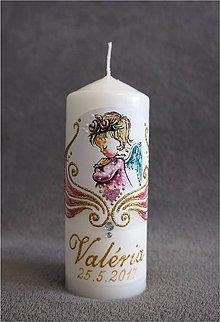 Svietidlá a sviečky - krstová sviečka s anjelikom - ružová/zlatá - 8175988_