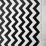 Textil - čierno-biely cikcak; 100 % bavlna, šírka 160 cm, cena za 0,5 m - 8174498_