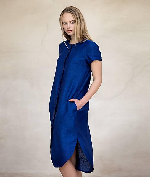 Šaty - Modré lněné šaty - 8174407_