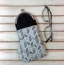 Taštičky - Púzdro na okuliare šedý cik-cak - 8174303_